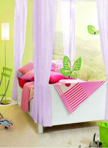 Kids Girls BED CANOPY Curtains FOURPOSTER Drape Set LILAC Sheer Voile - 8 Panel Set - Sheer Ideas