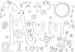 Lucy Loveheart Mothers Day colouring in sheet - Mum.jog