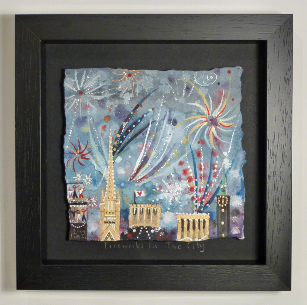 Painting | Fireworks In The City | Lucy Loveheart