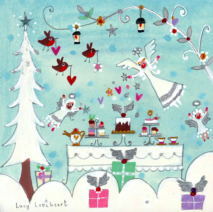 Christmas Card | Pack of 6 - Angel's Tea Party | Lucy Loveheart
