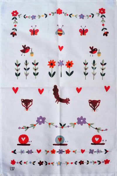 Tea Towel | Country Folk - Country Patterns | Lucy Loveheart