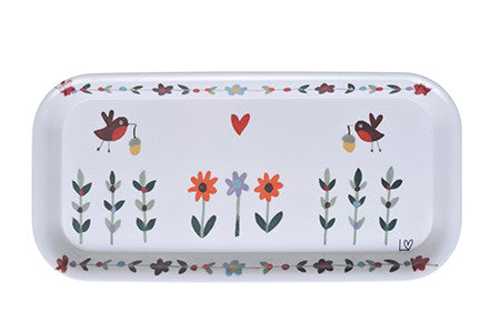 Tray | Country Folk Small - Robins and Flowers | Lucy Loveheart