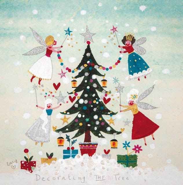 christmas card pack of 6 decorating the tree lucy loveheart
