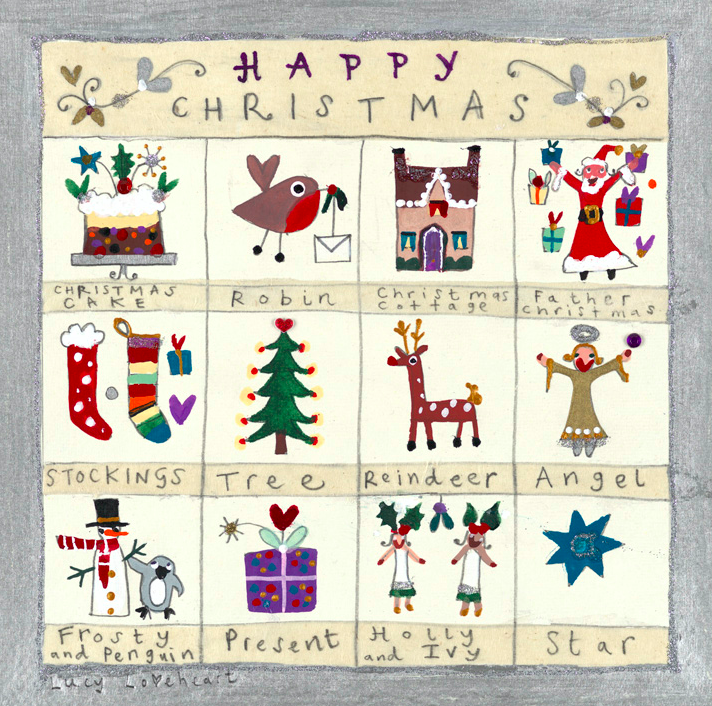 Christmas Card | Pack of 6 - Glitter Panel | Lucy Loveheart