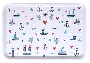 Tray | Kiss Me Quick Large - Boats, Hearts & Gulls | Lucy Loveheart