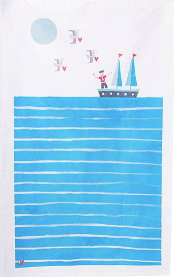 Tea Towel | Kiss Me Quick - Dream Boat | Lucy Loveheart