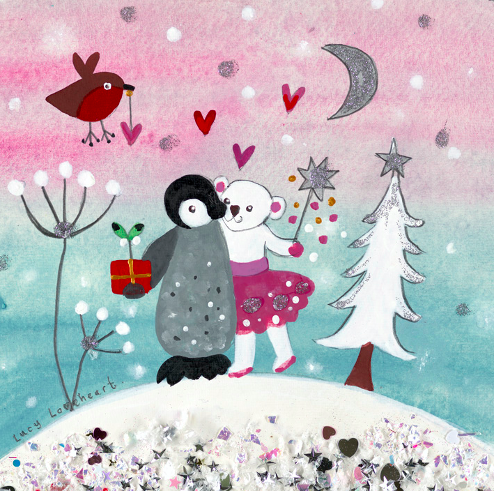 christmas card pack of 6 love in a cold climate lucy loveheart - Christmas Card Packs