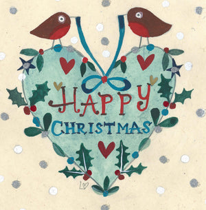 Christmas Card | Pack of 6 - Robin Heart | Lucy Loveheart