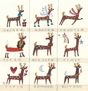 Christmas Card | Pack of 6 - Rudolf & The Reindeers | Lucy Loveheart
