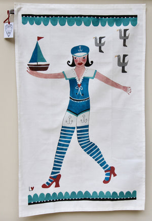 Tea Towel | Kiss Me Quick - Sailor Girl | Lucy Loveheart