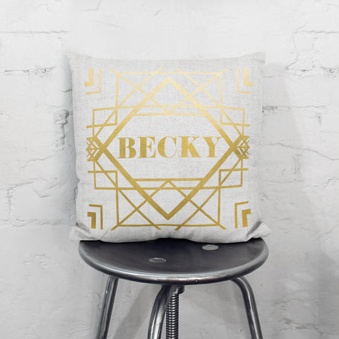 Personalised Metallic Art Deco Cushion