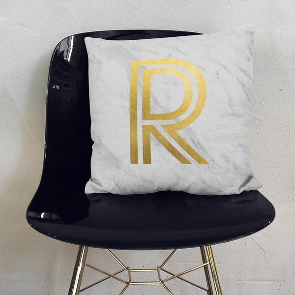 Personalised Metallic Marble Initial Cushion