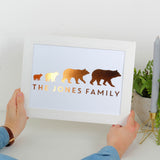 Personalised Bear Family Foil Print