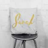 Personalised Metallic Marble Name Cushion