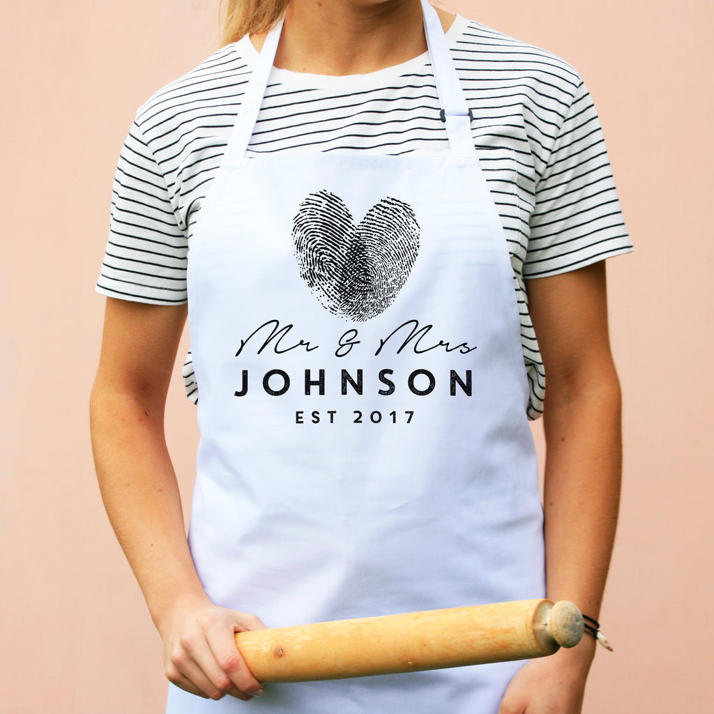Personalied Mr And Mrs Finger Print Apron