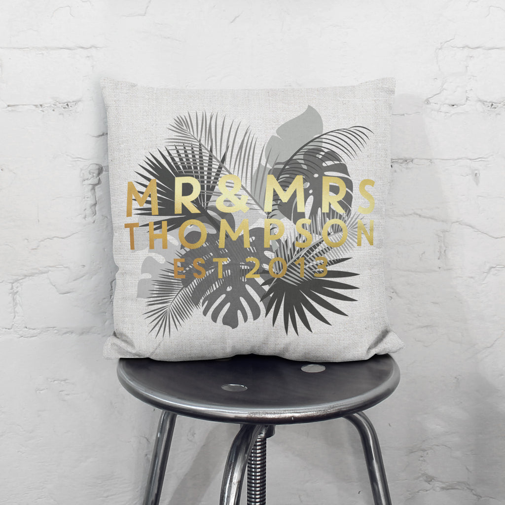 Personalised Mr And Mrs Gold Floral Grey Cushion