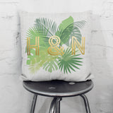 Personalised Metallic Palm Leaf Cushion