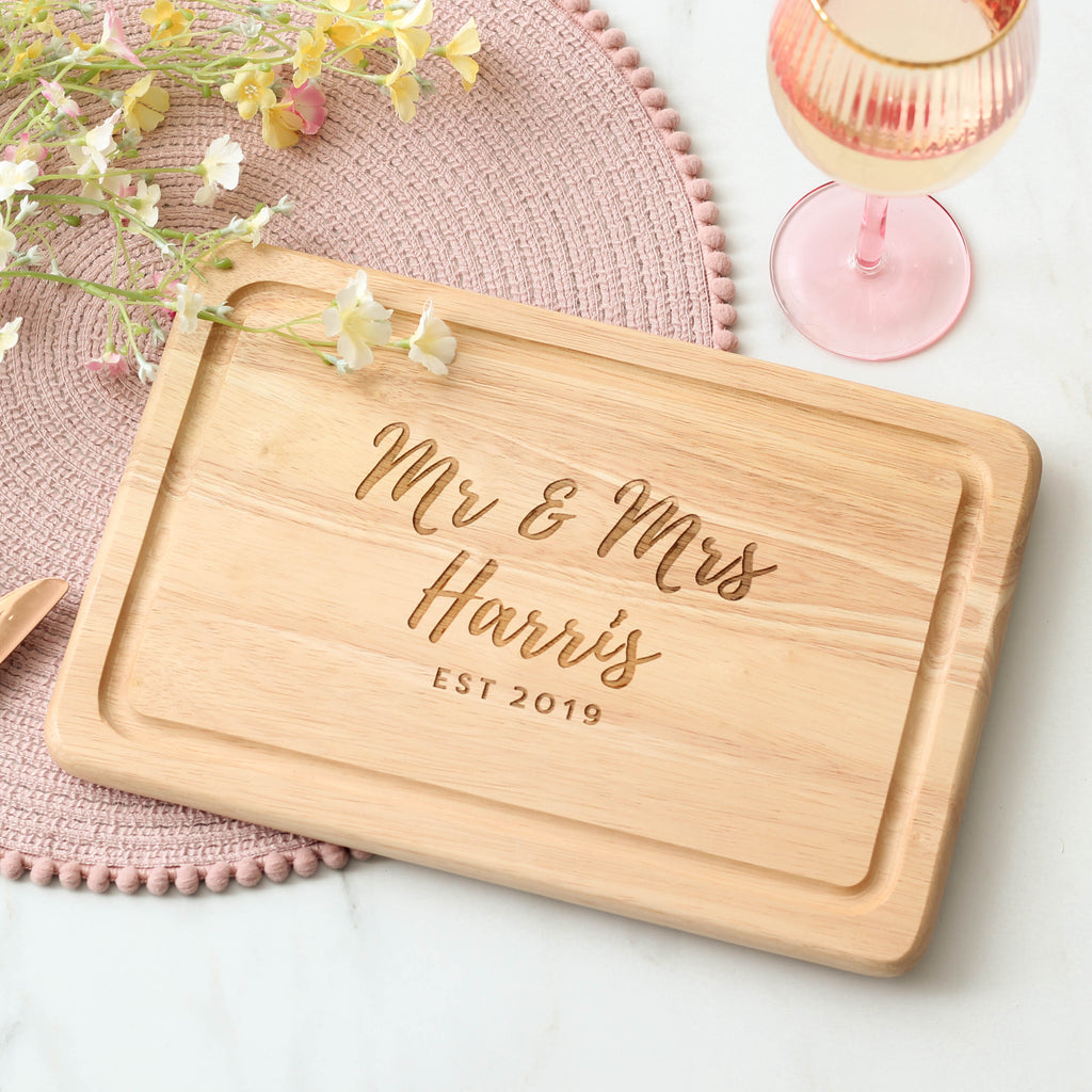 Personalised Mr And Mrs Chopping Board
