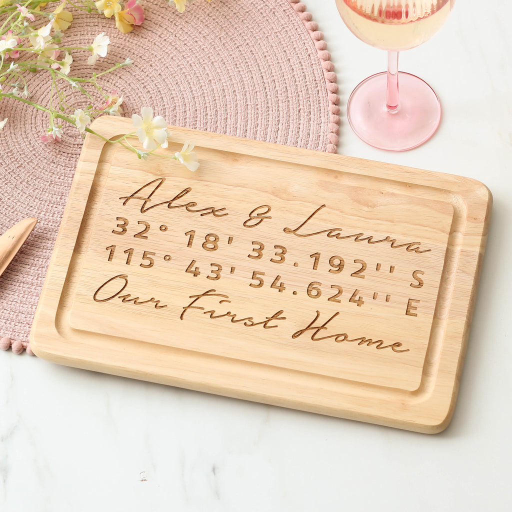 Personalised Coordinates Chopping Board
