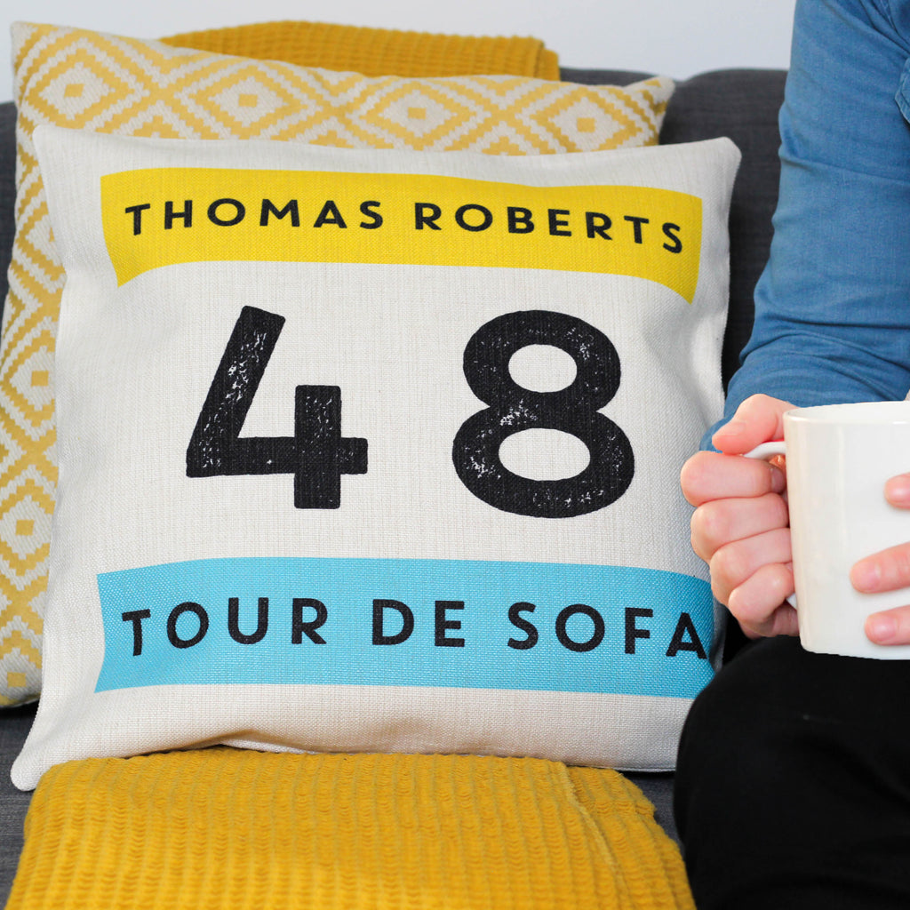Personalised Tour De Sofa Cushion