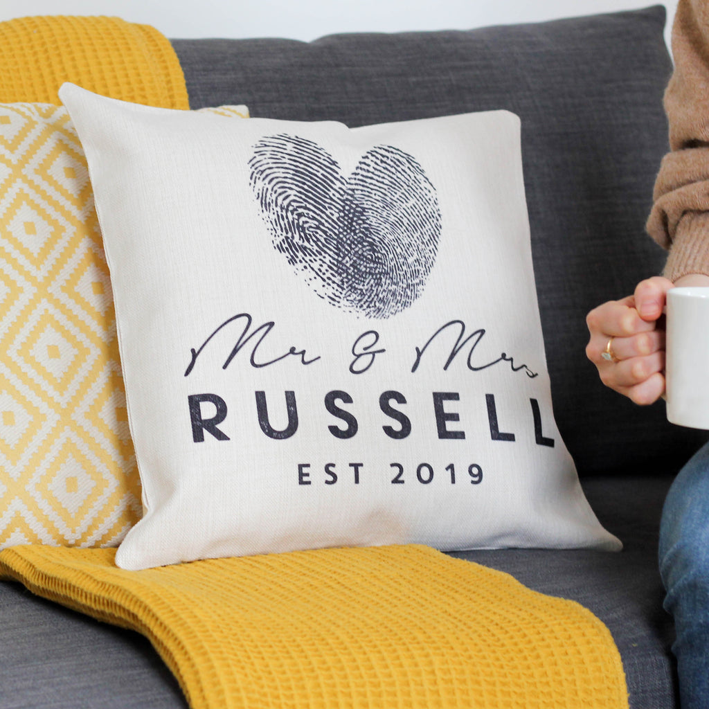 Personalised Mr And Mrs Finger Print Heart Cushion