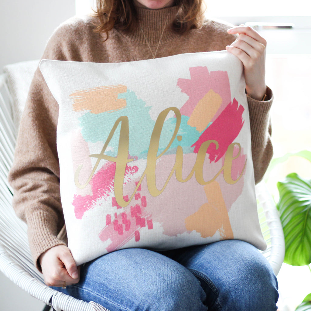 Personalised Metallic Paint Strokes Cushion