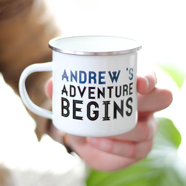 Personalised Adventure Begins Enamel Mug
