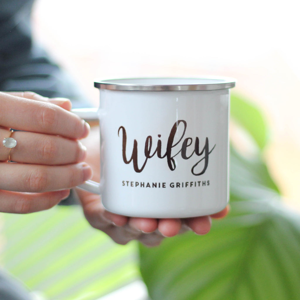 Personalised Hubby And Wifey Enamel Mug