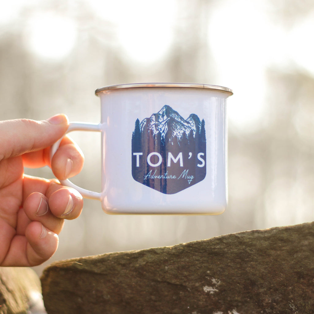 Personalised Mountain Enamel Mug