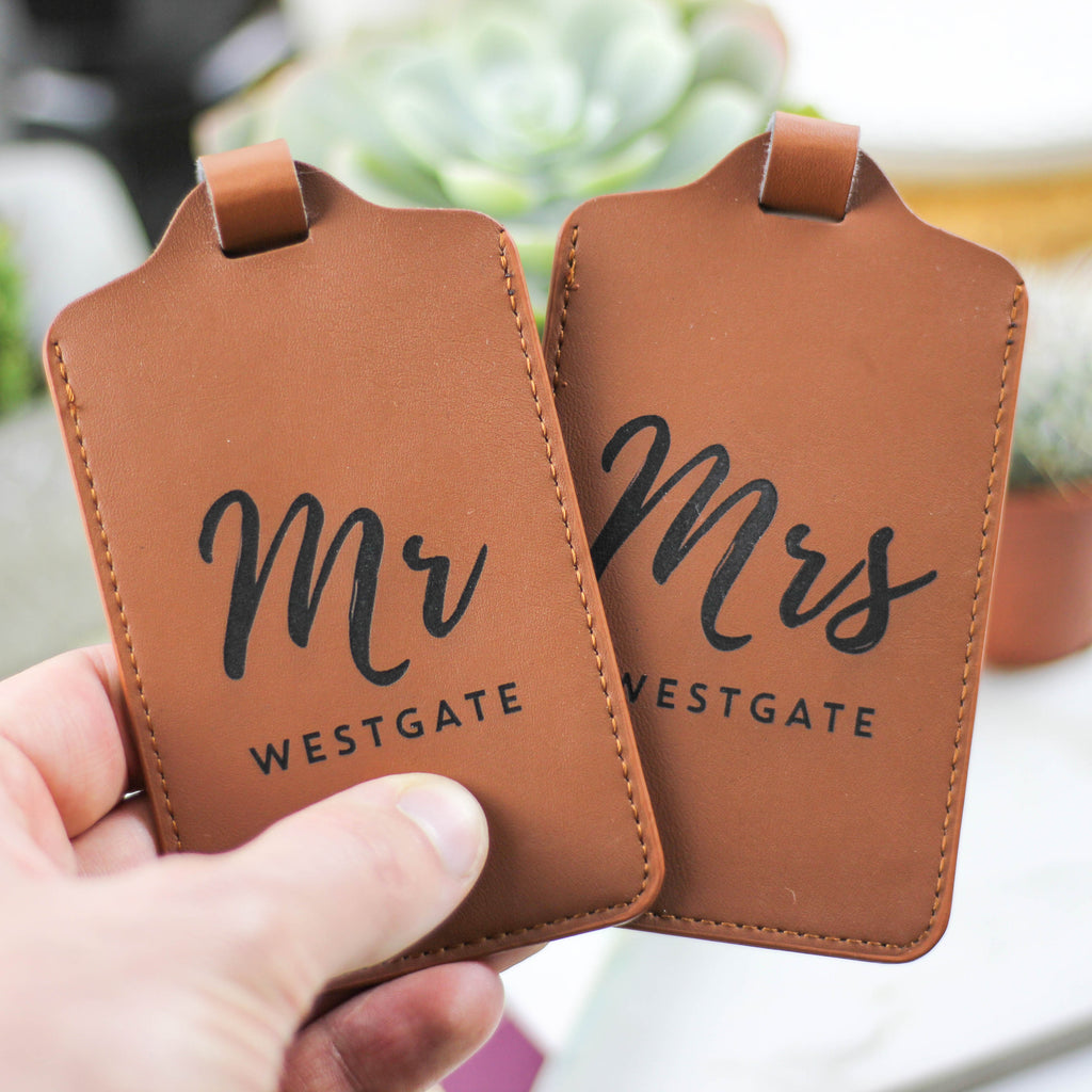 Personalised Mr And Mrs Luggage Tag