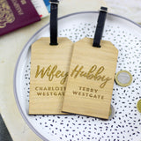 Personalised Hubby And Wifey Wooden Luggage Tag
