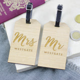 Personalised Mr And Mrs Wooden Luggage Tag