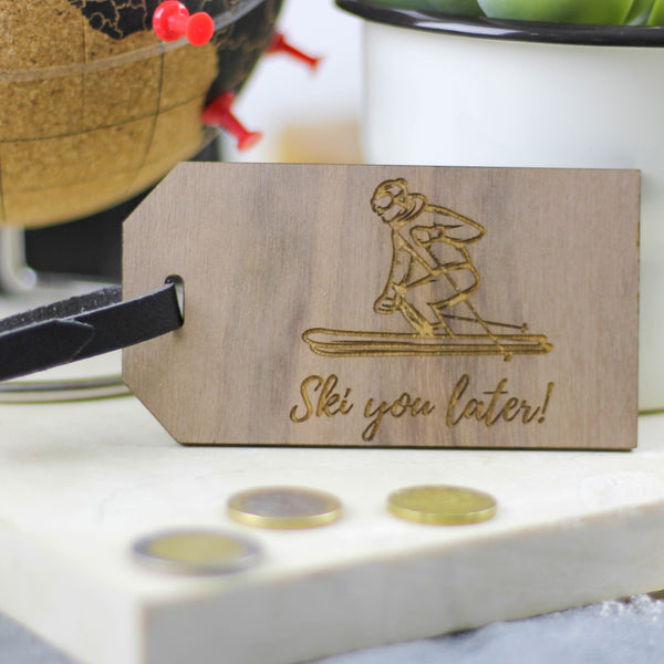 Personalised Wooden Ski Luggage Tag