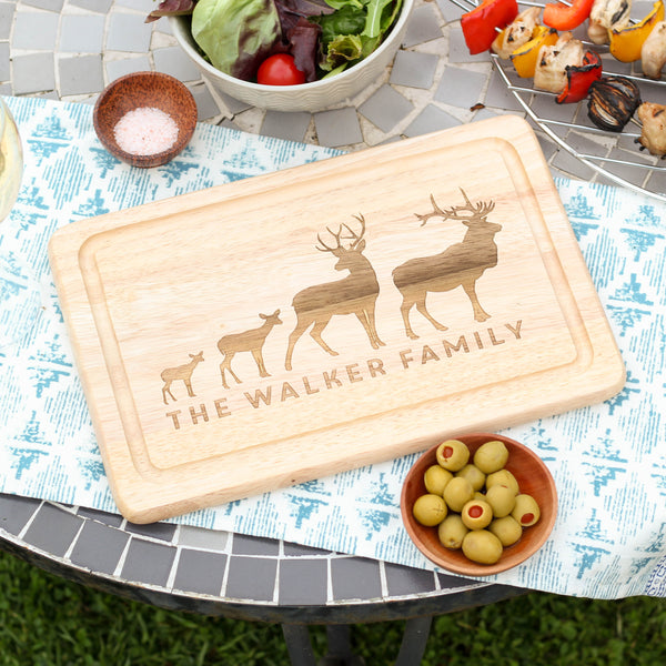 Personalised Stag Family Chopping Board