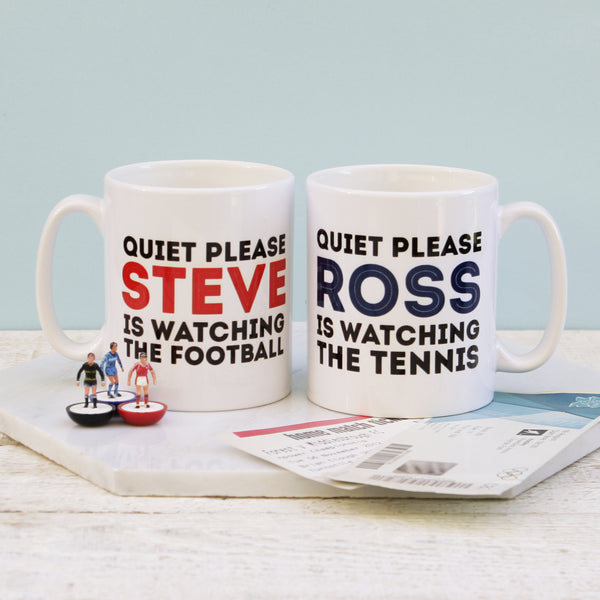 Personalised Quiet Please Watching The Sport Mug
