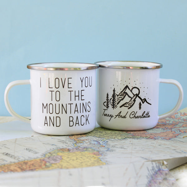 Personalised Love You To The Mountains And Back Enamel Mug