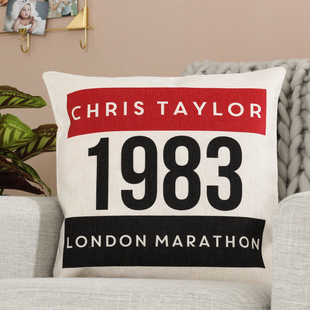 Personalised Marathon Cushion