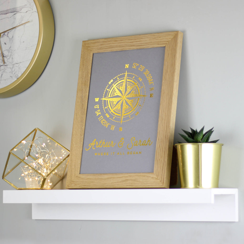 Personalised Metallic Compass Print
