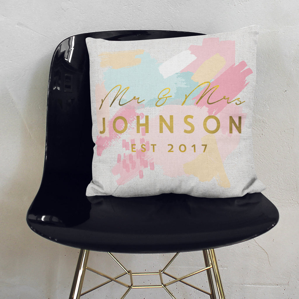 Personalised Mr And Mrs Paint Stroke Cushion