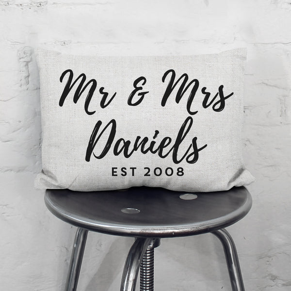 Personalised Mr And Mrs Cushion