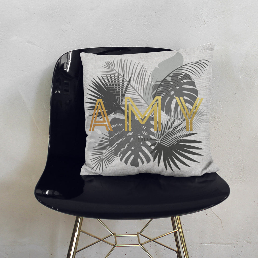 Personalised Gold Palm Leaf Cushion