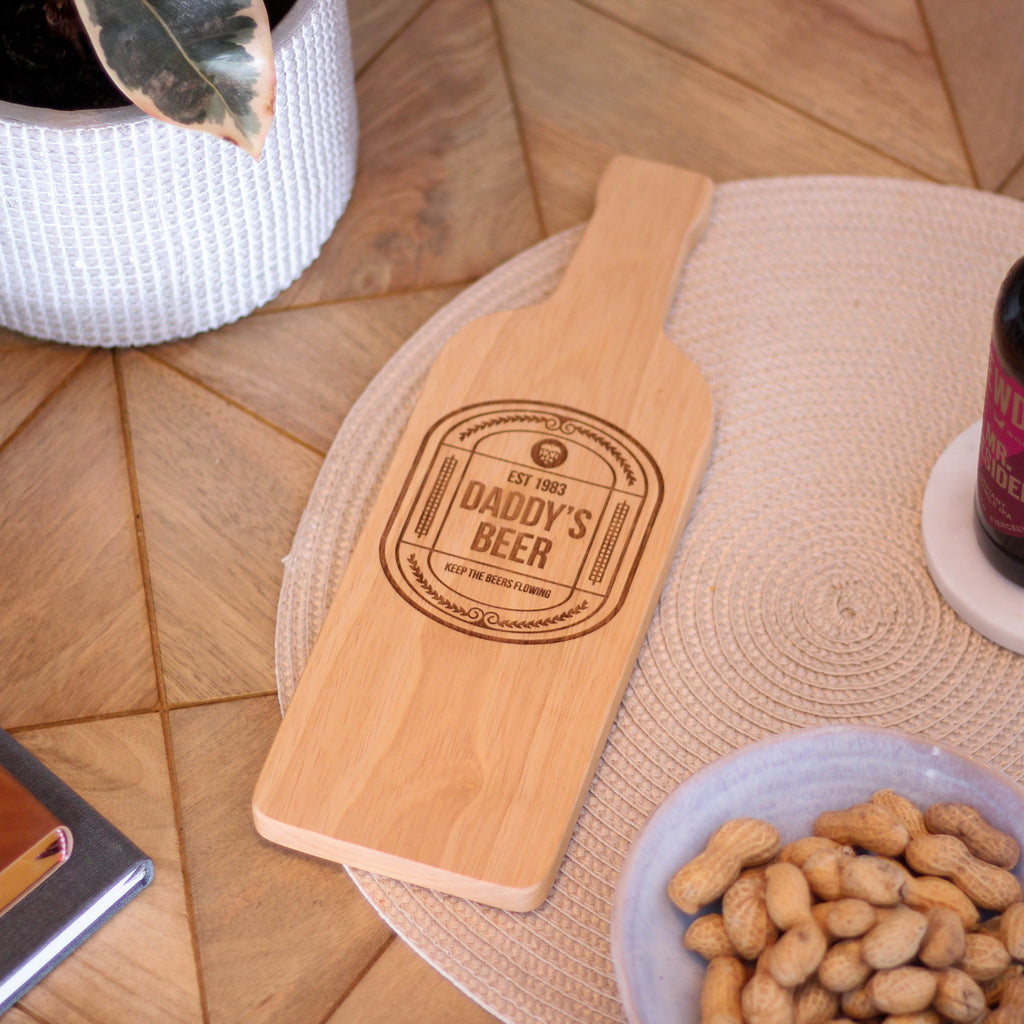 Personalised Beer Bottle Chopping Board For Dad