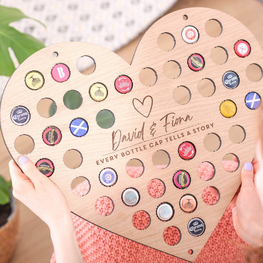 Personalised  Heart Shaped Beer Bottle Collector