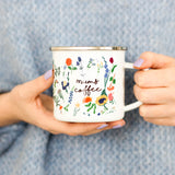 Personalised Botanical Floral Enamel Mug For Mum