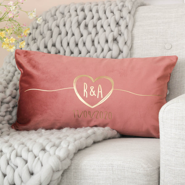 Personalised Couples Heart Velvet Cushion