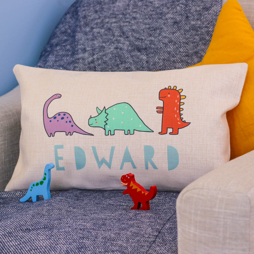 Personalised Dinosaur Cushion For Kids Room