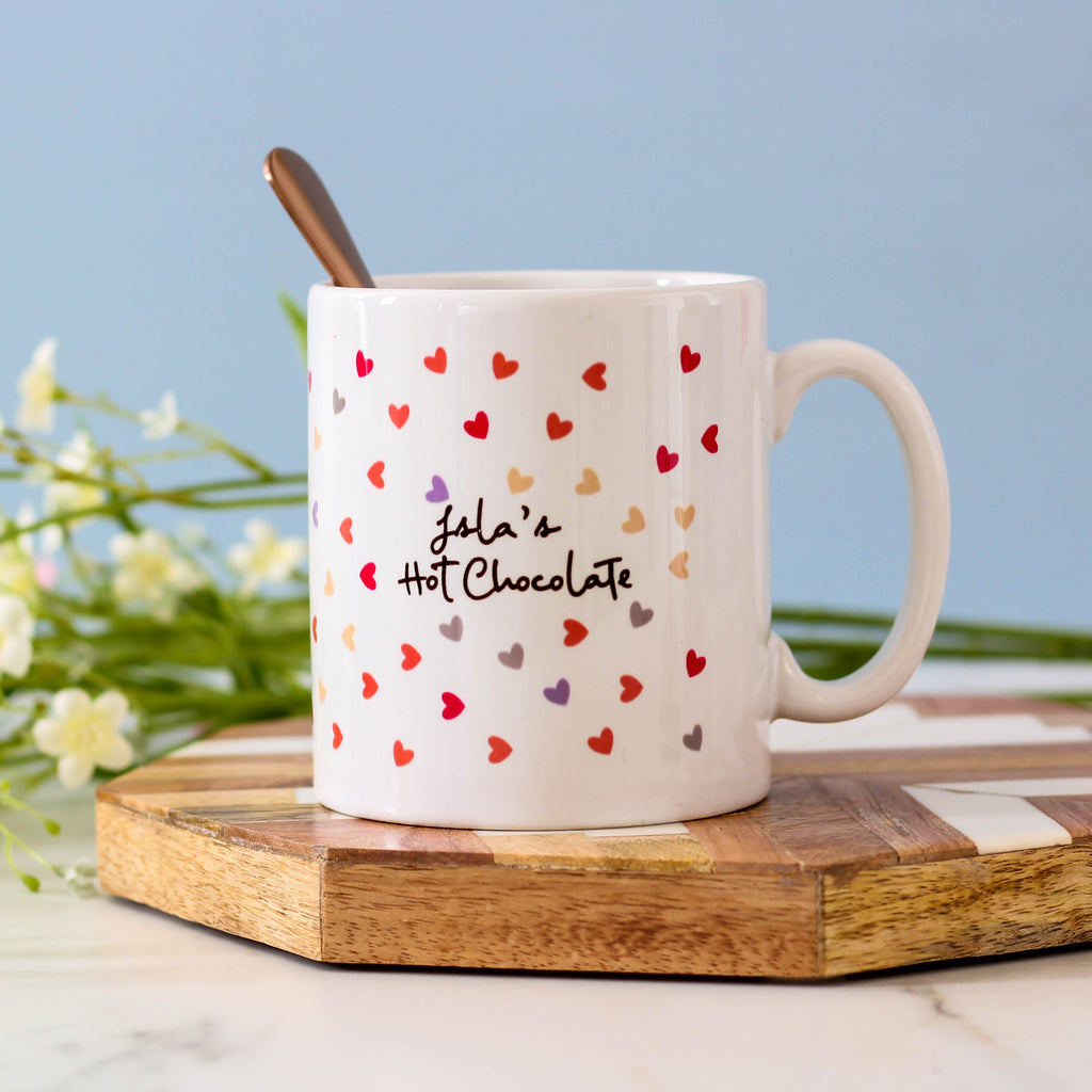 Personalised Favourite Drink Heart Mug For Her
