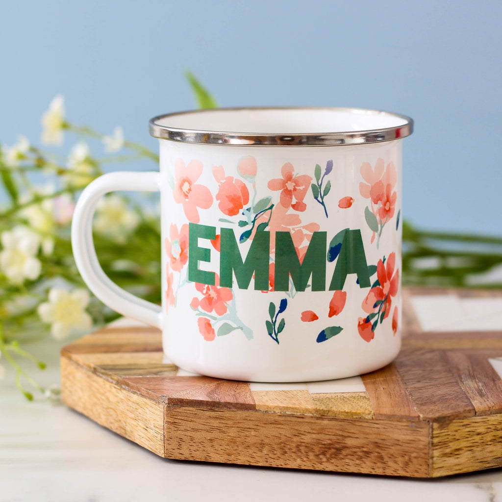 Personalised Floral Name Enamel Mug