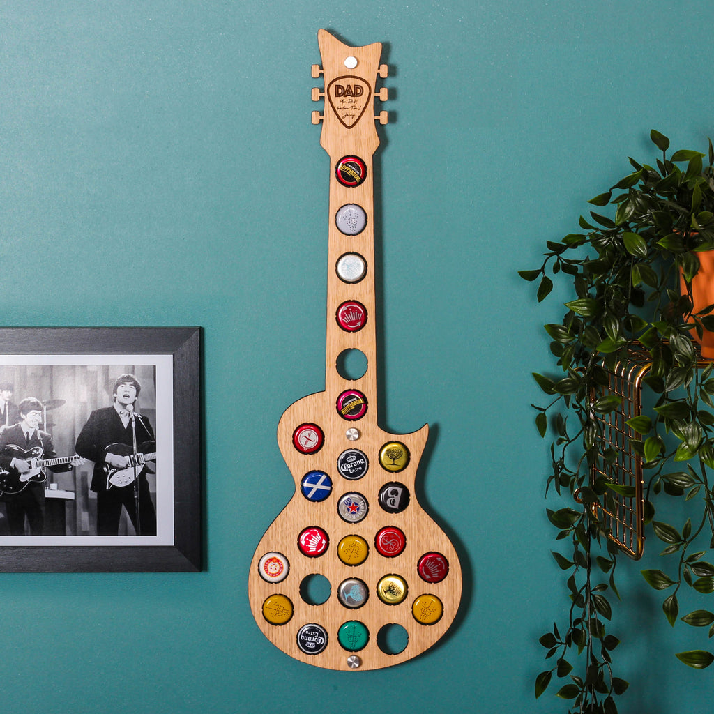Personalised Guitar Beer Bottle Wall Art For The Home
