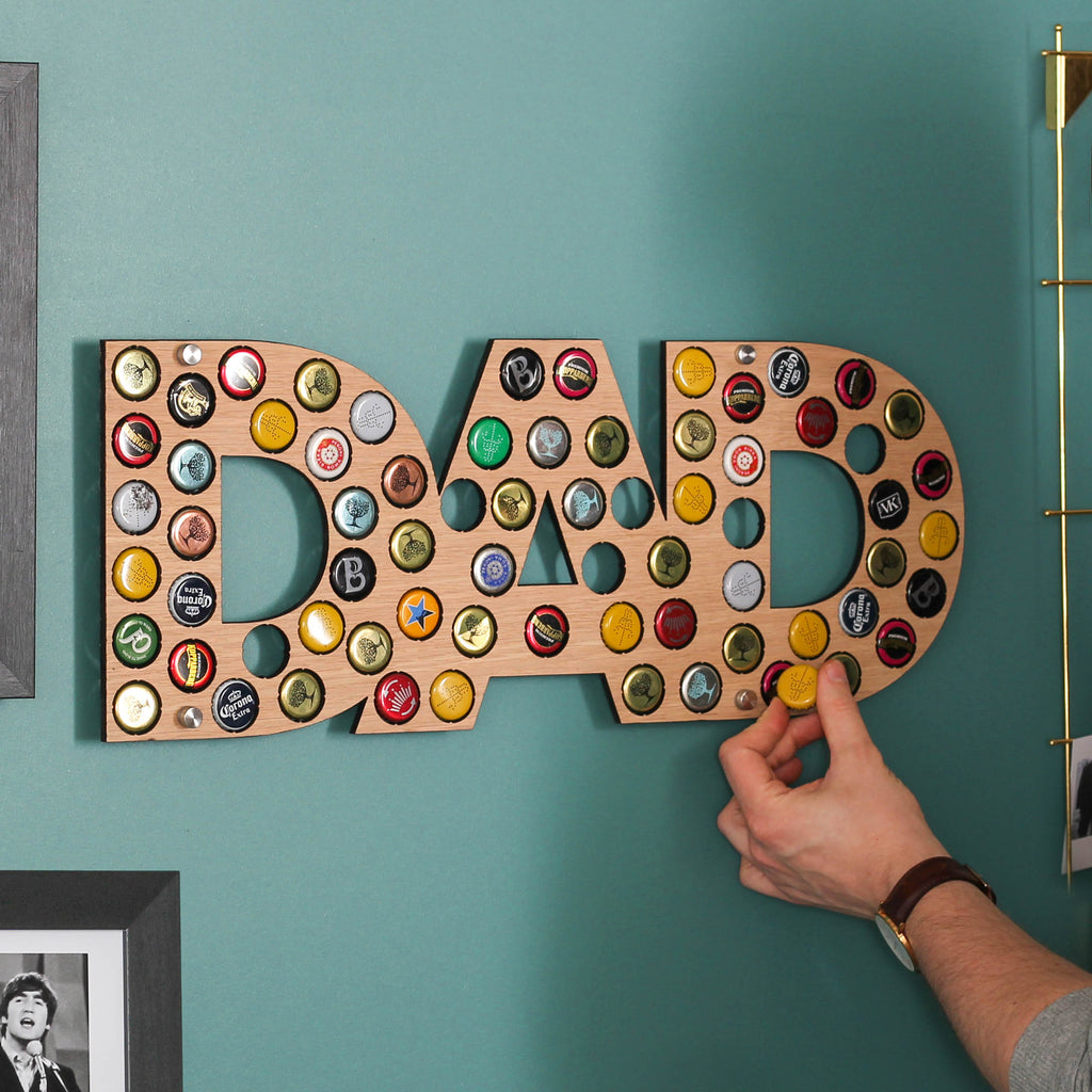 Personalised Initials Bottle Cap Holder For Dad